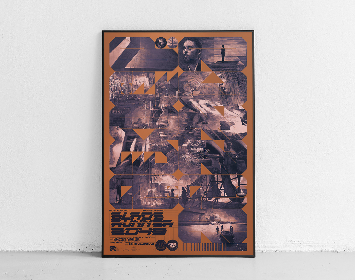 poster poster art Poster Design blade runner 2049 silk screen Private commission pen drawing movie poster Krzysztof Domaradzki StudioKxx