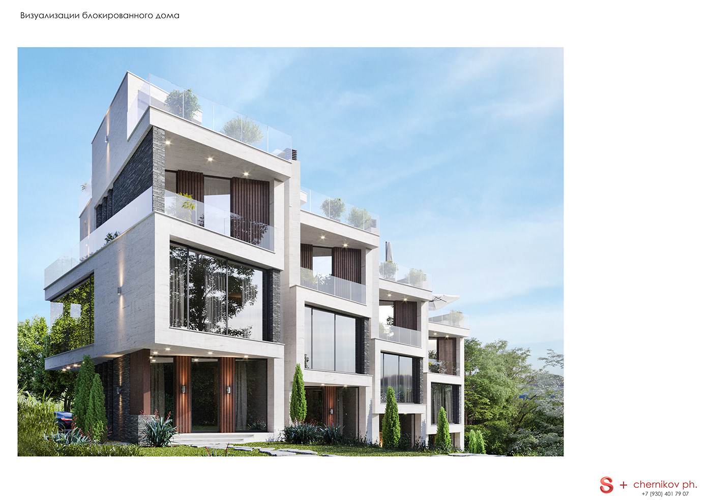 Townhouse project near seaside with panoramic view