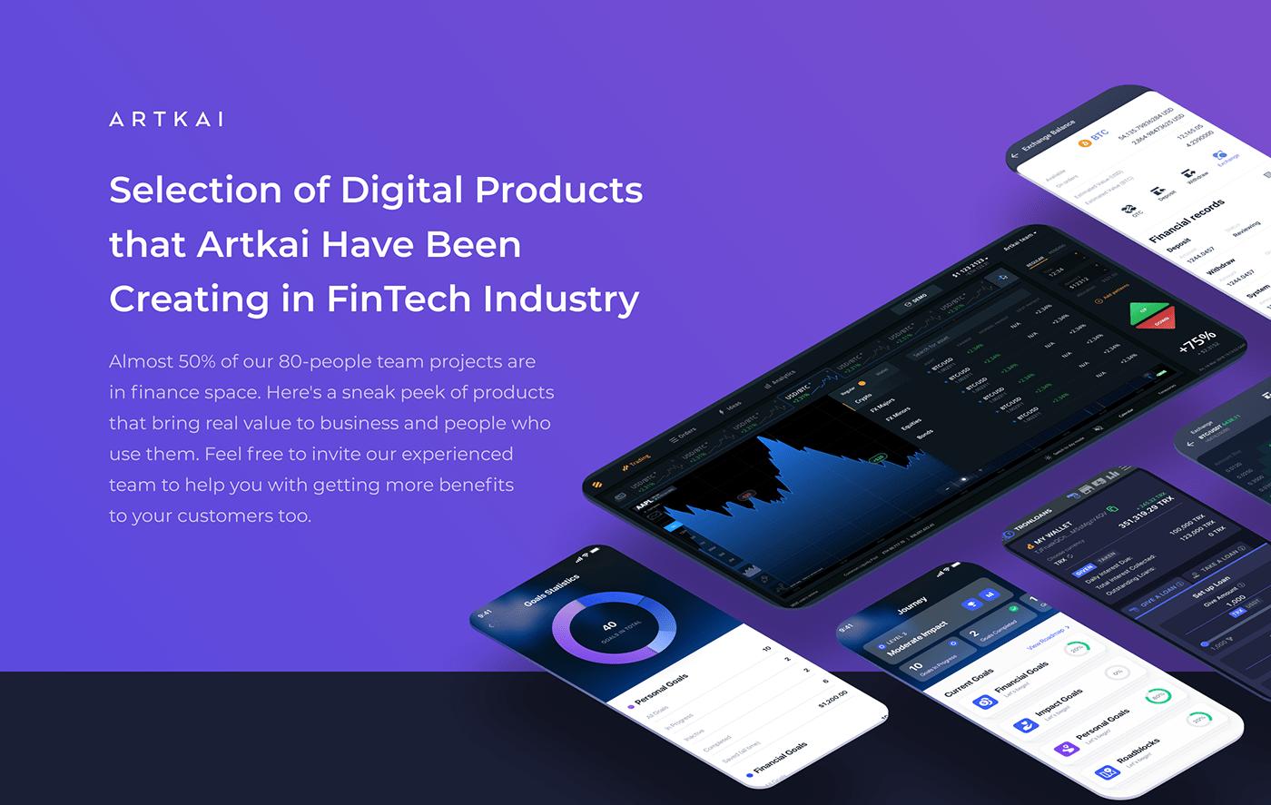 artkai blockchain financial Fintech trading UI ux Webdesign b2b BFSI