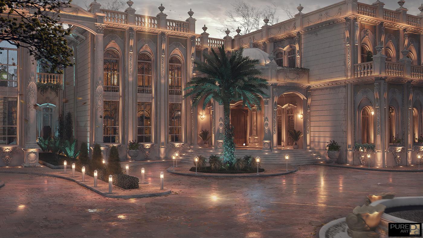 luxury Interior Classic architecture exterior vray 3dmax Villa palace design