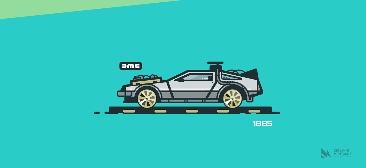 Delorean Dmc And Deloran From Back To The Future Tribute Illustration In Vector Style