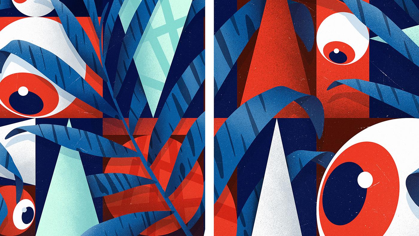 ILLUSTRATION  #art gigakobidze eyes gradient palms illusion abstract design
