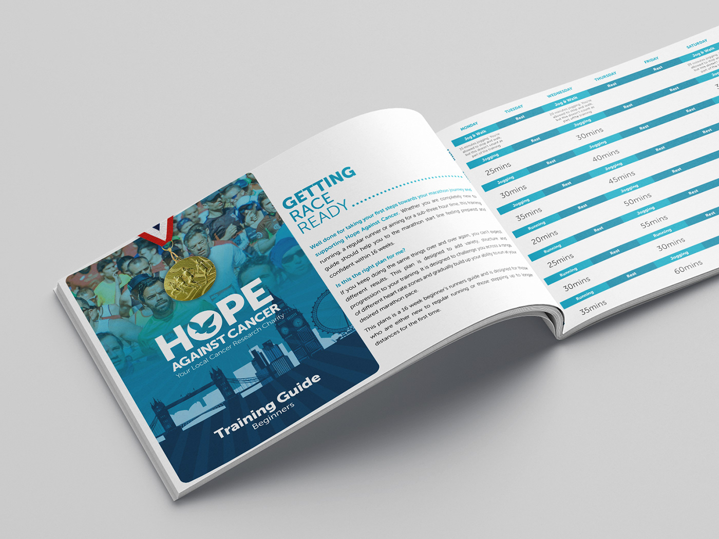 branding  cancer charity digital fitness Guide Health print sports