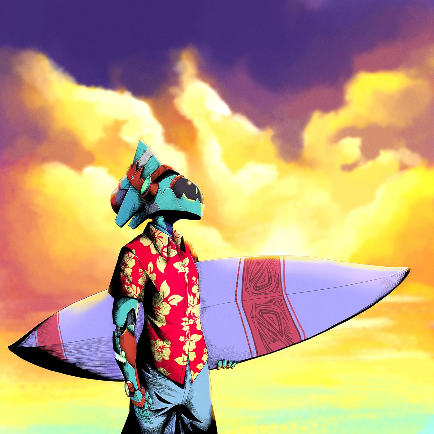 surfer sea summer surfing robot mech beach surfing board sunset logo