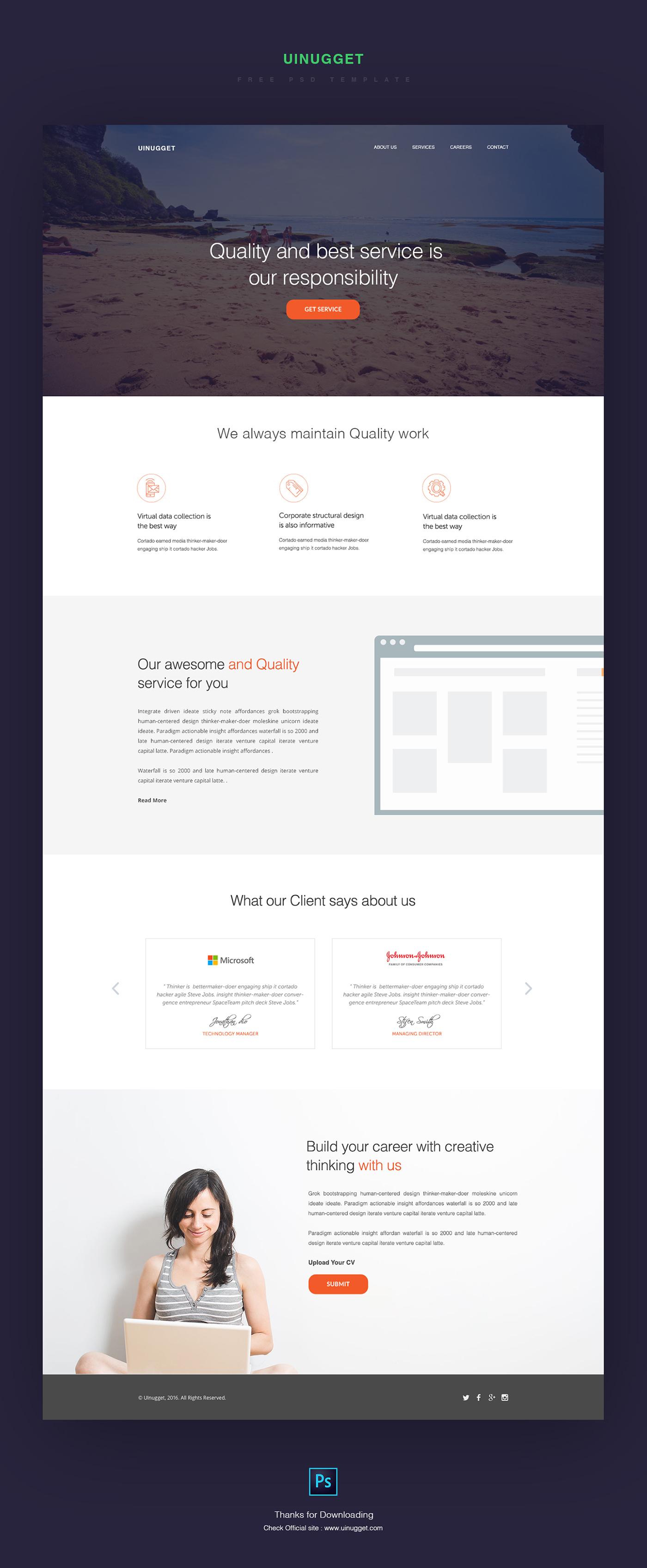 Uinuggetcom Free PSD Template On Behance - Venture capital website template