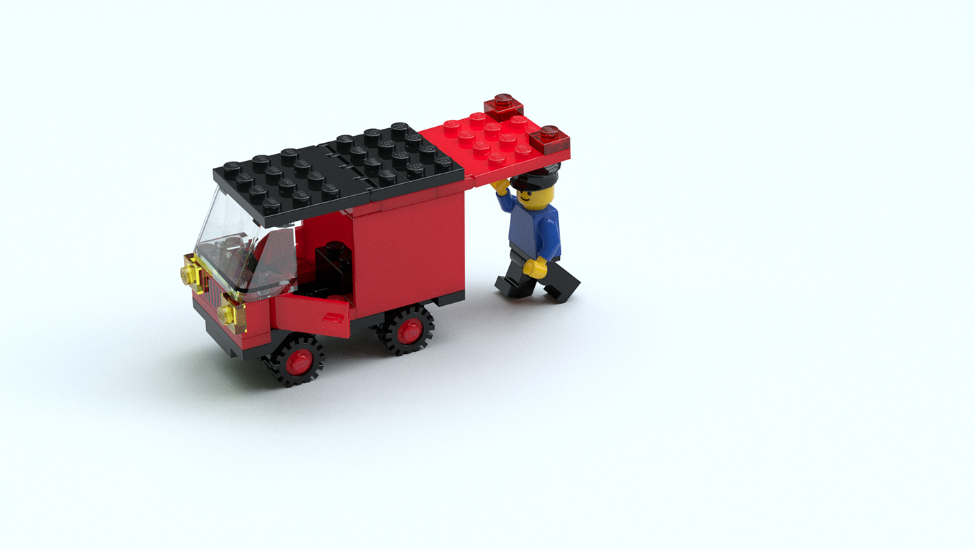 3D blender cycles fusion 360 Render technical illustration LEGO train
