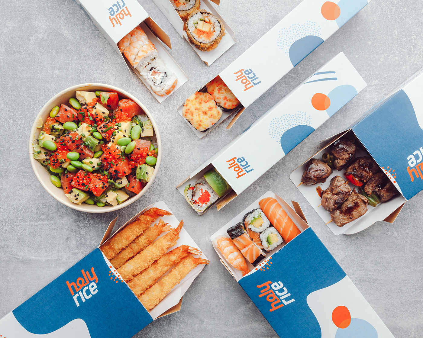 asian branding  Ecommerce food delivery Packaging smoothie Sushi wok
