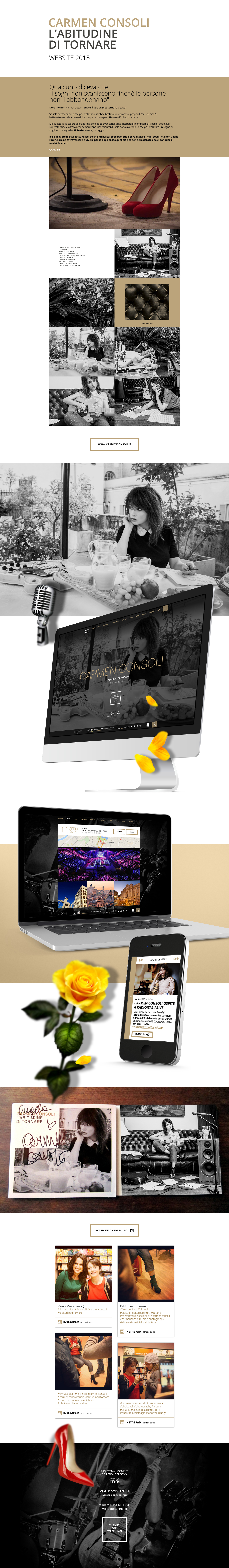 Website Responsive UX design concert carmen consoli live music shooting social universal vevo video discography sicily