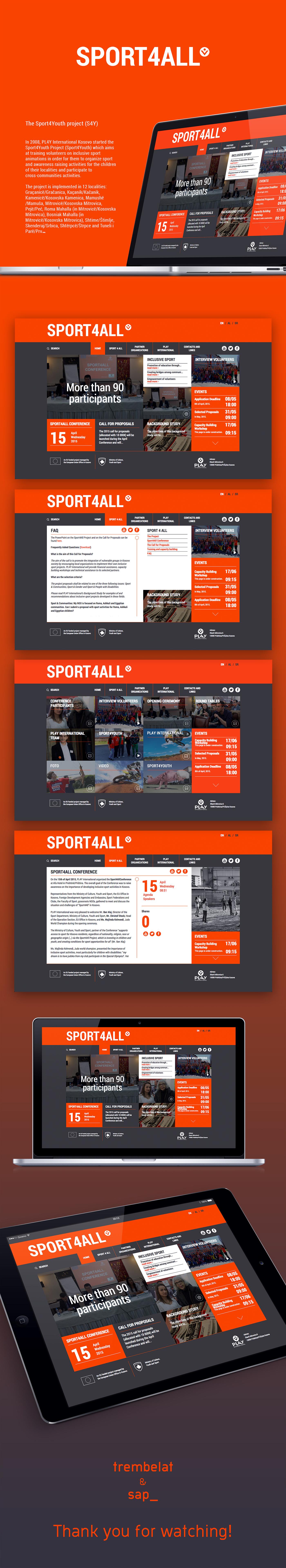 Web online sport all sport4all Webdesign design youth orange black minimal