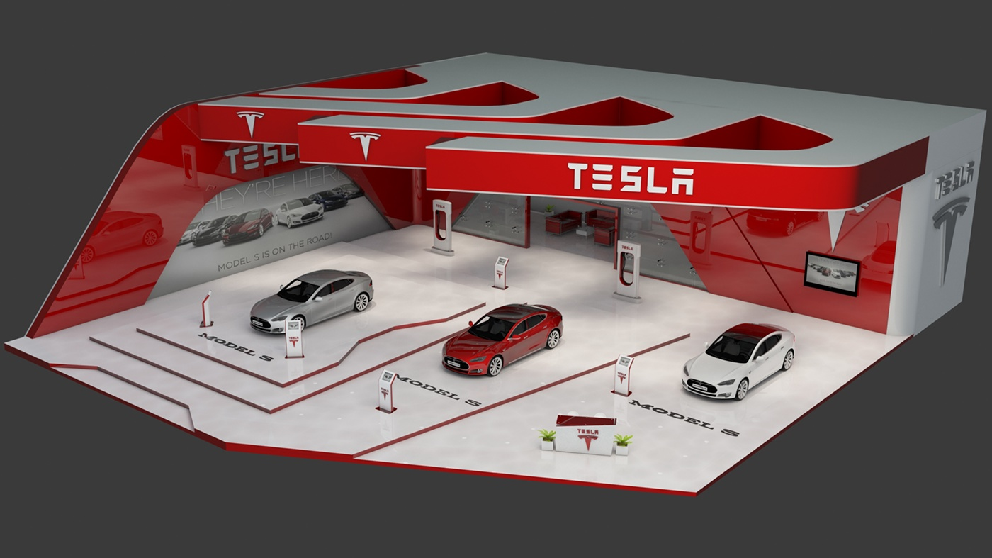 Exhibition Stand Vray : Tesla s exhibition stand made in d max and vray on behance