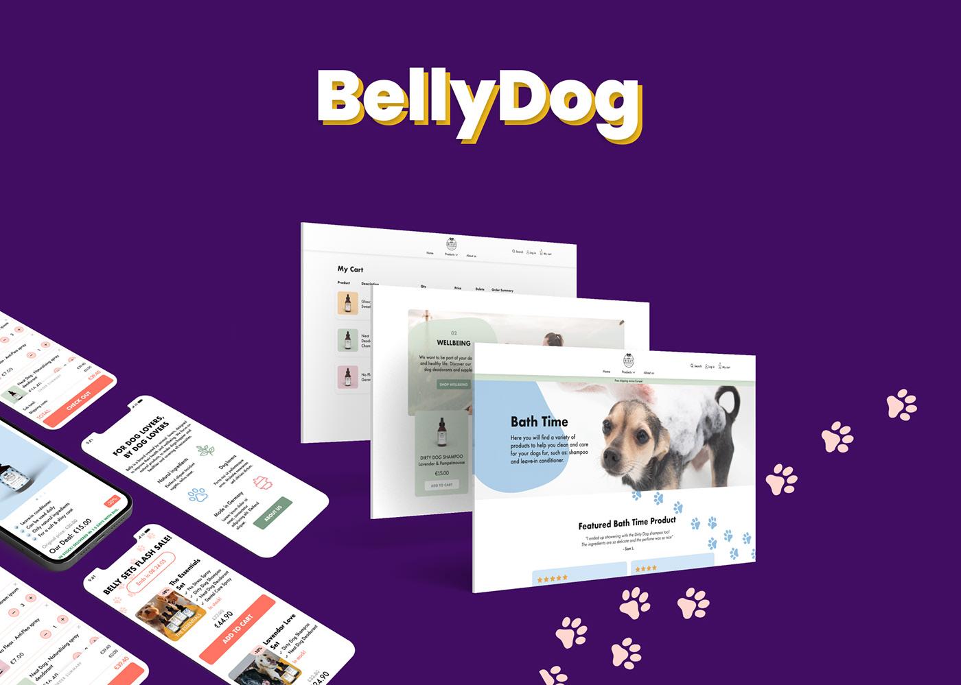bellydog mobile design uiux Webdesign e-commerce Liquid pet cosmetics SEO&SEA Shopify