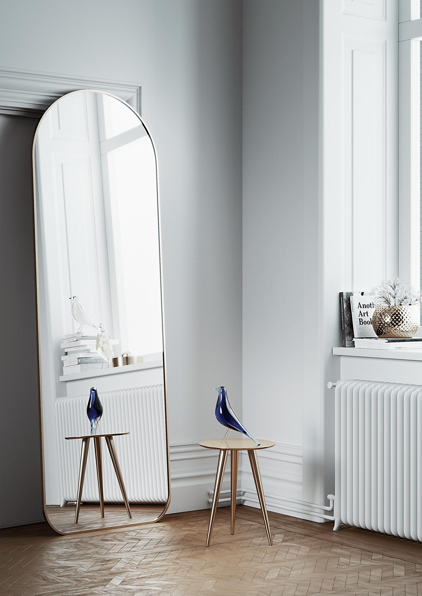 bird blue mirror