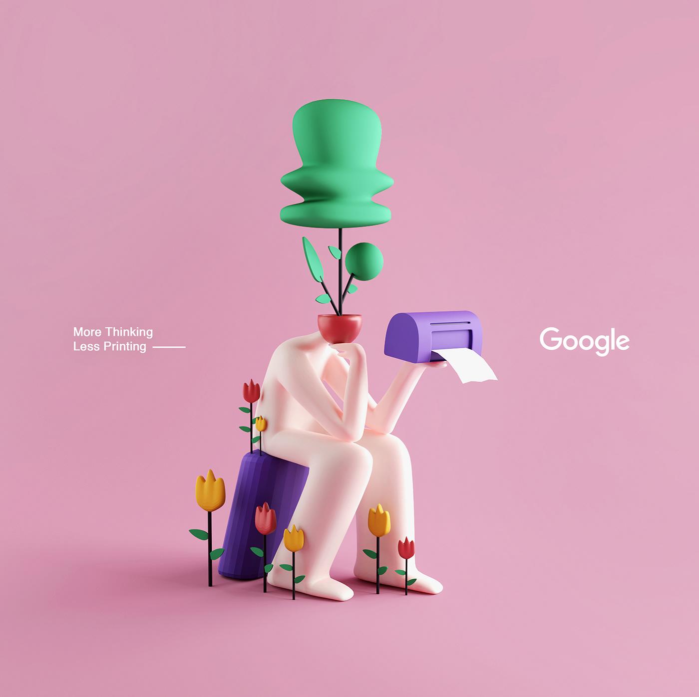 google sticker cinema4d Character design inspiration adobe ILLUSTRATION  creative octane