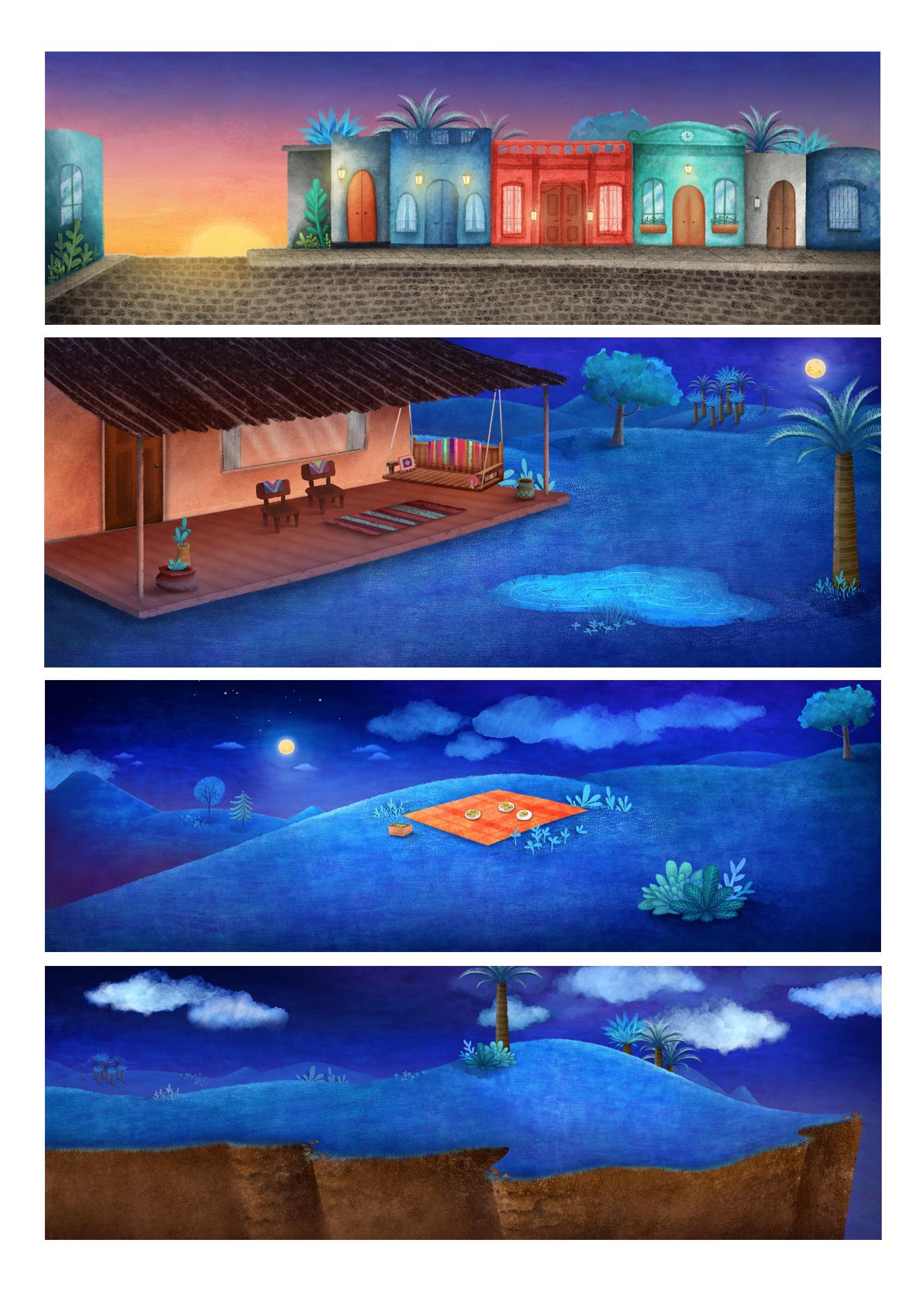 Paka Paka la vuelta en cuento characters children illustration cartoon ilustration ilustración para niños acuarela vegetación paisajes dibujos animados creativo watercolor