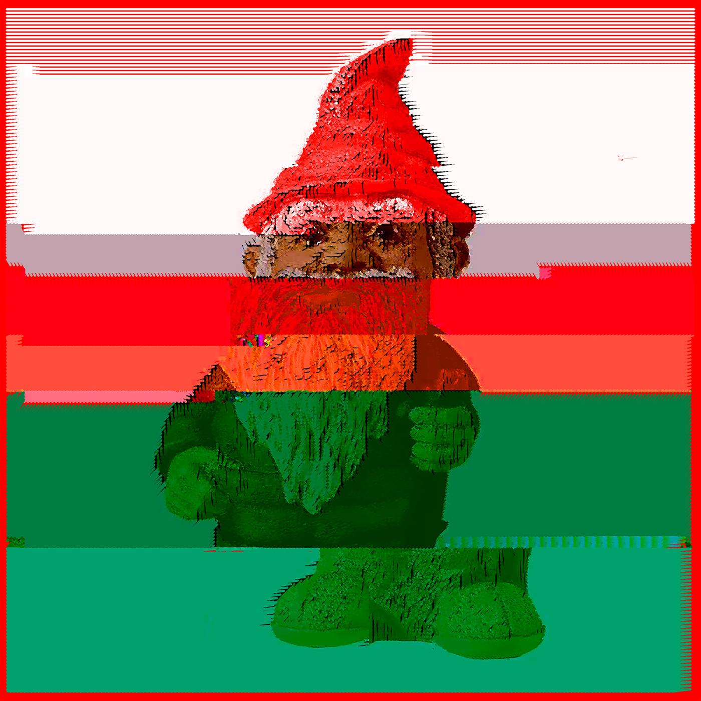 gnome red green Glitch line art