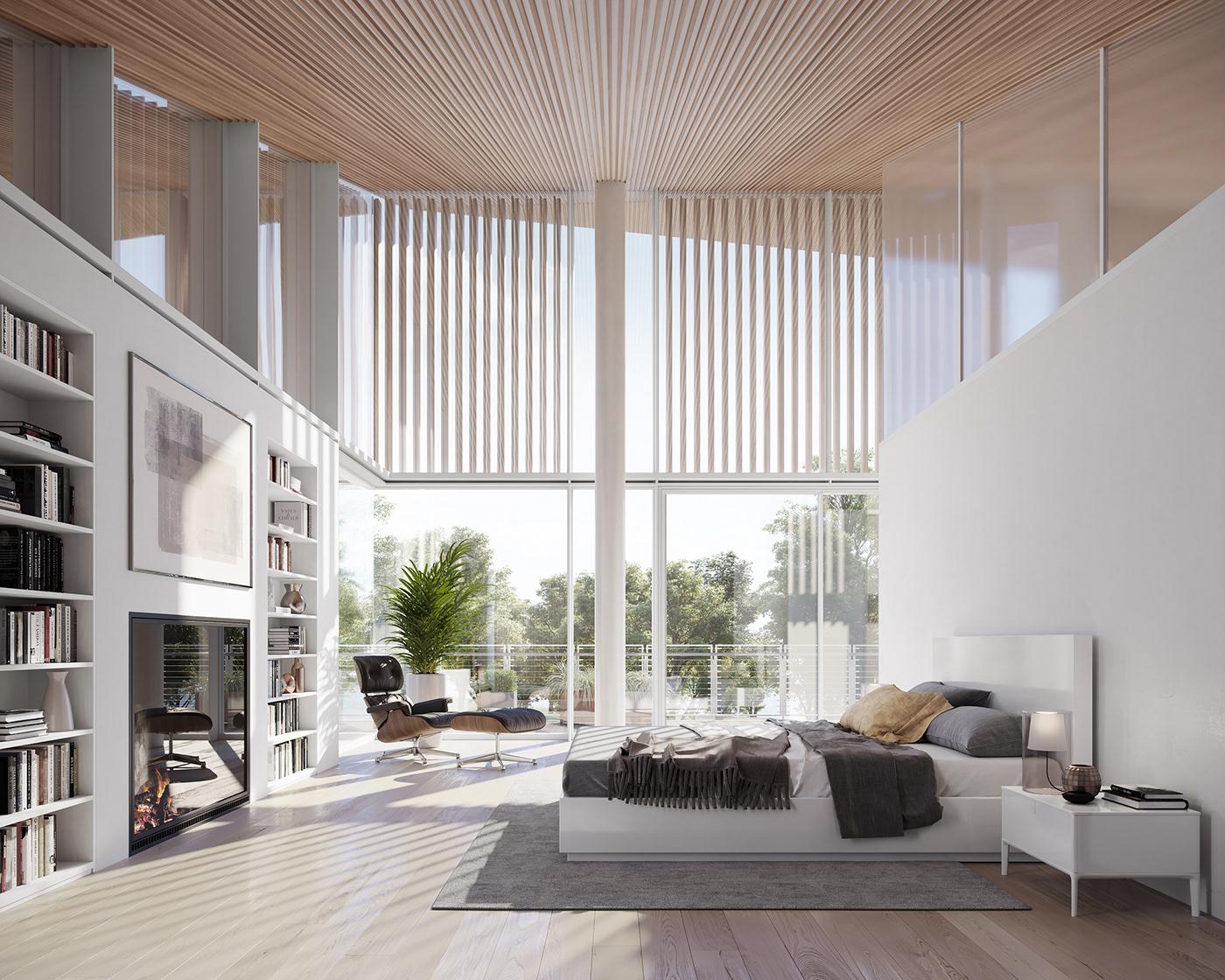 corona Render CGI visualization architecture design Interior house residential Villa