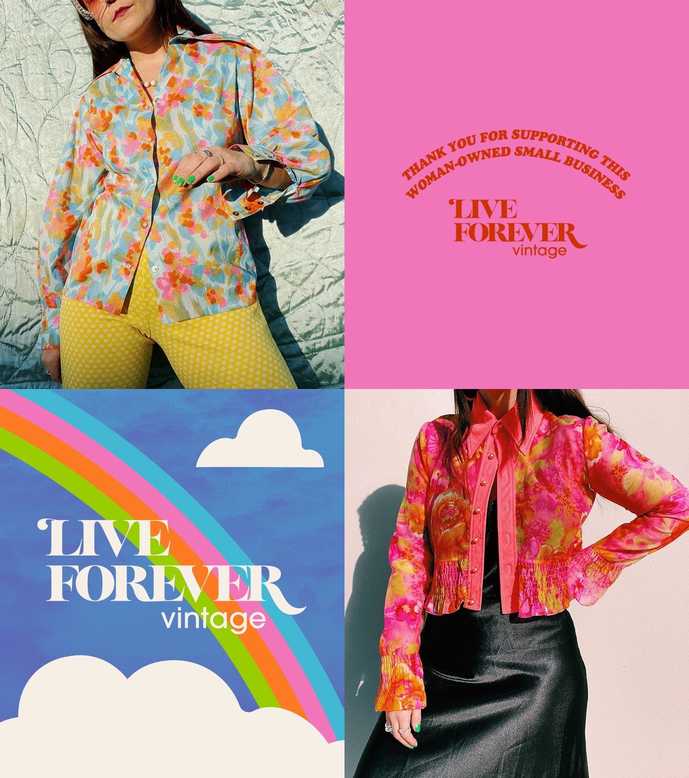 Outfit shots and Live Forever Vintage branding elements