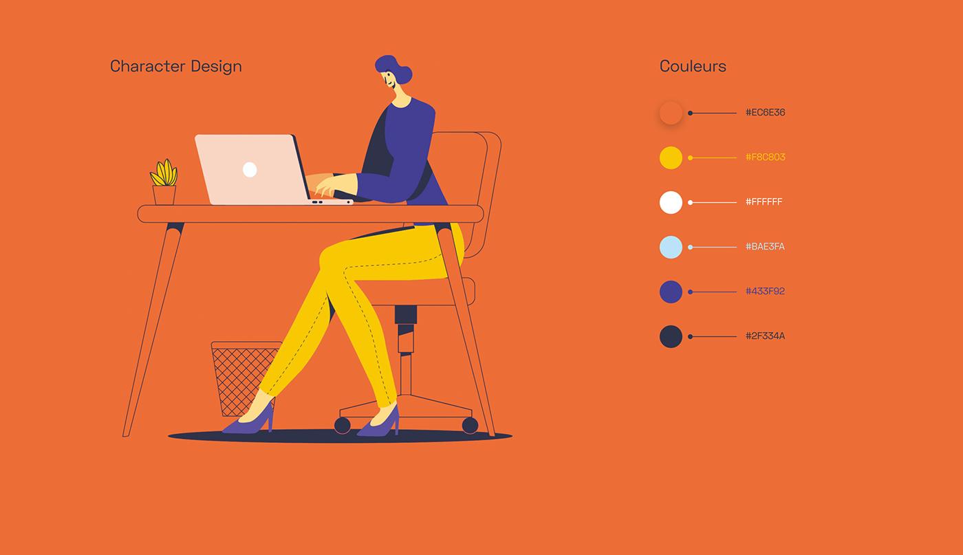 colors corporate flat design human ILLUSTRATION  motion storyboard