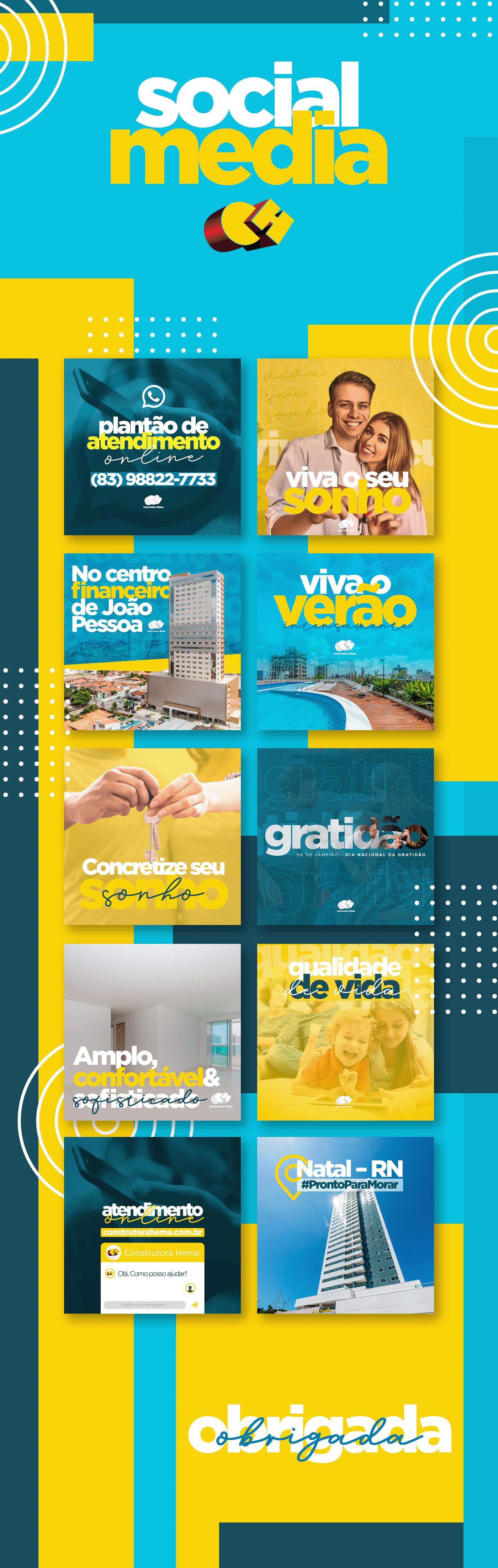 blue and yellow construtora construtora hema design IFPB cabedelo imobiliária João Pessoa mídia social Paraíba social media