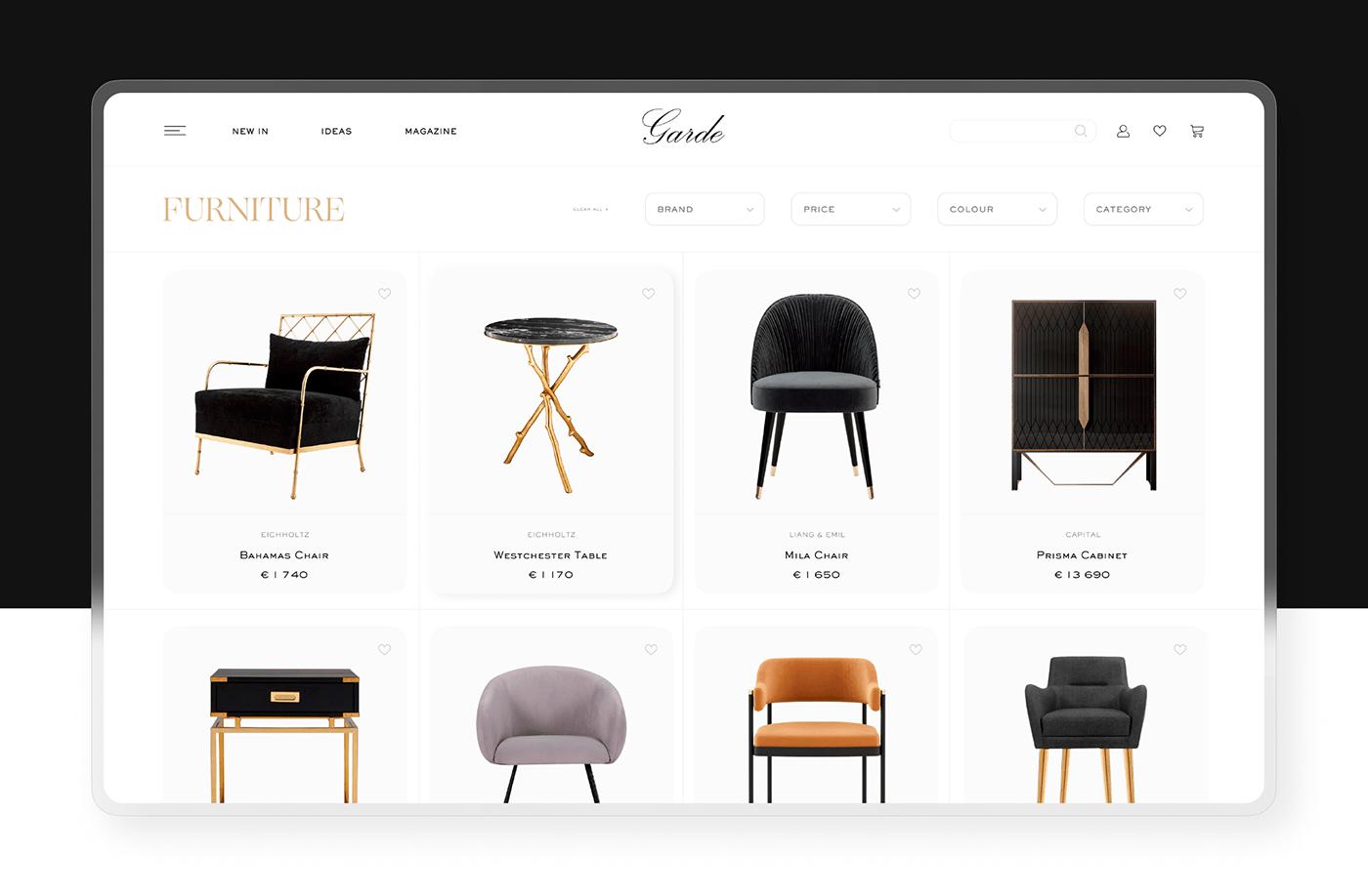 luxury ux/ui online store Web Design  Website interior website luxury website Ecommerce furniture elegant