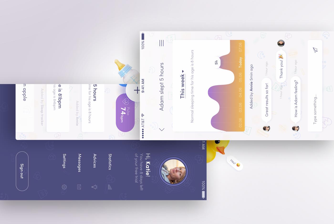 ios app application parent baby child minimalistic flat animation  sketch