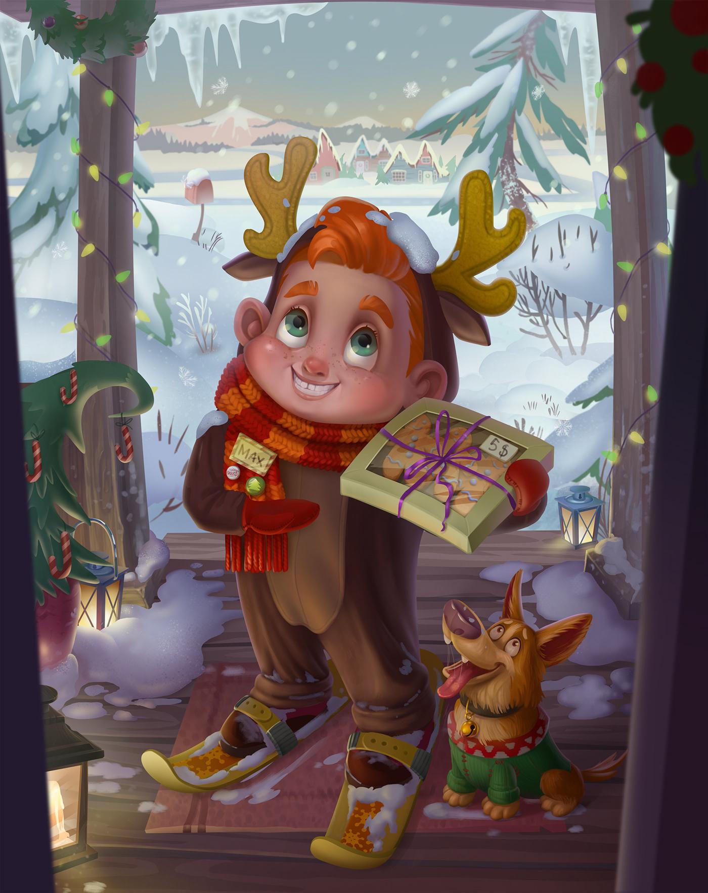 cute illustration Printing Christmas Holiday Character animal atmosphere book illustration Digital Art  cartoon