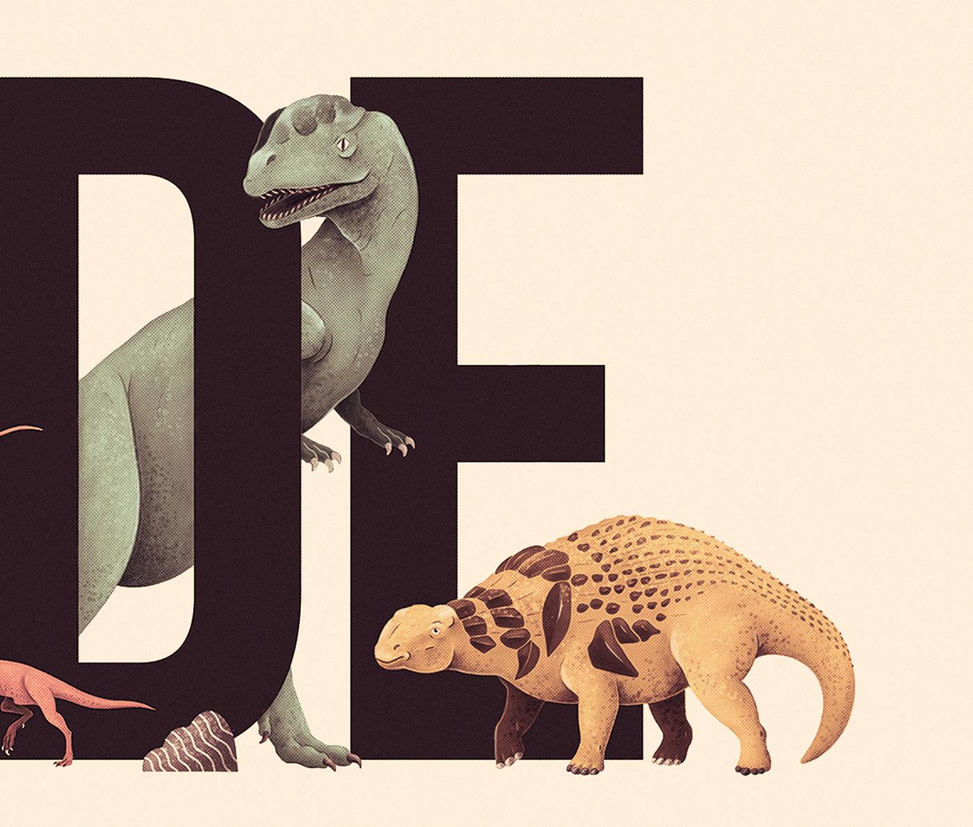 36daysoftype 36daysoftype2020 ABC abecedario alphabet Dino Dinosaur Dinosaurios ILLUSTRATION  vintage
