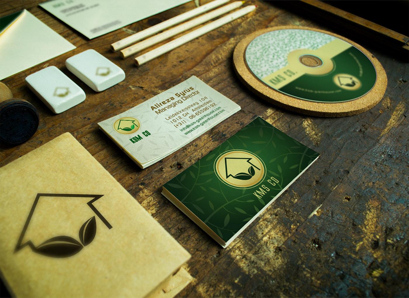greenhouse green logo identity Stationery
