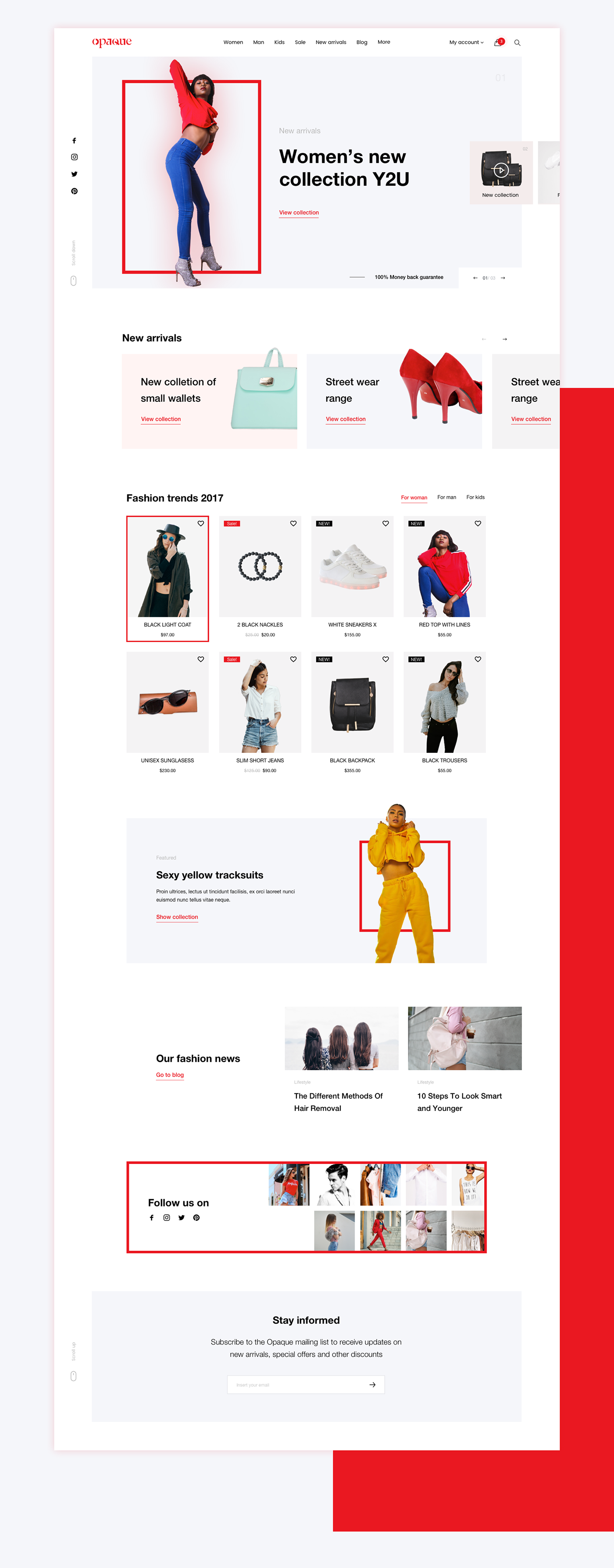 Fashion  online store eComerce Young women red square