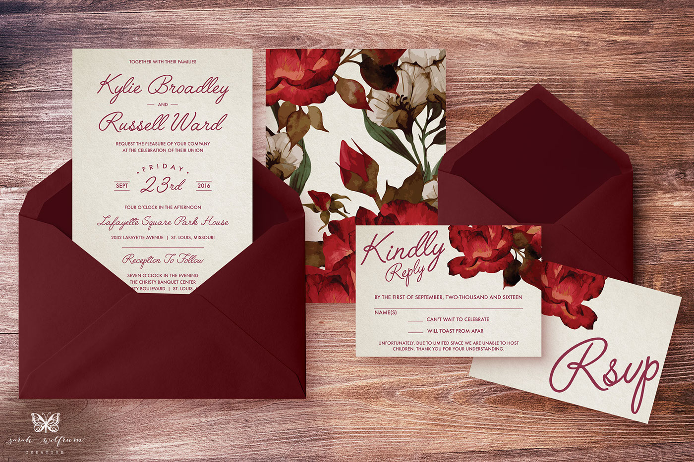 Wedding Invitations - Marsala Floral, Vintage Art Deco on Behance