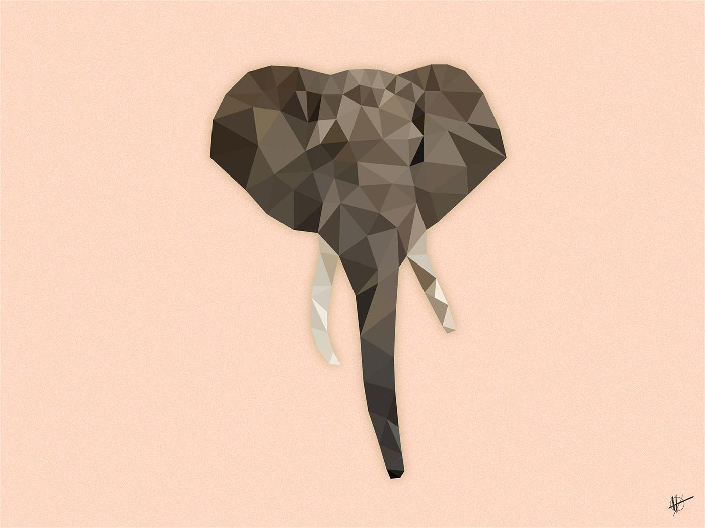 animal elephant ILLUSTRATION  Low Poly low polygon vector vector art