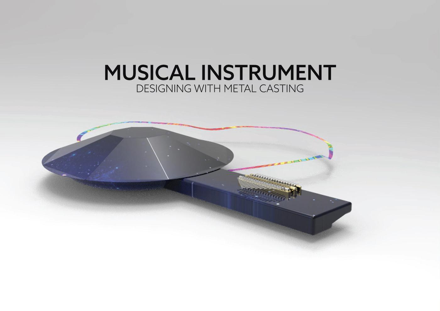 Music Instrument Rhino travelers metal casting keyshot Hang kalimba ideation Mockup