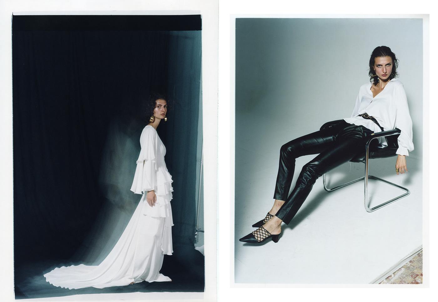 Image may contain: wall, dress and fashion