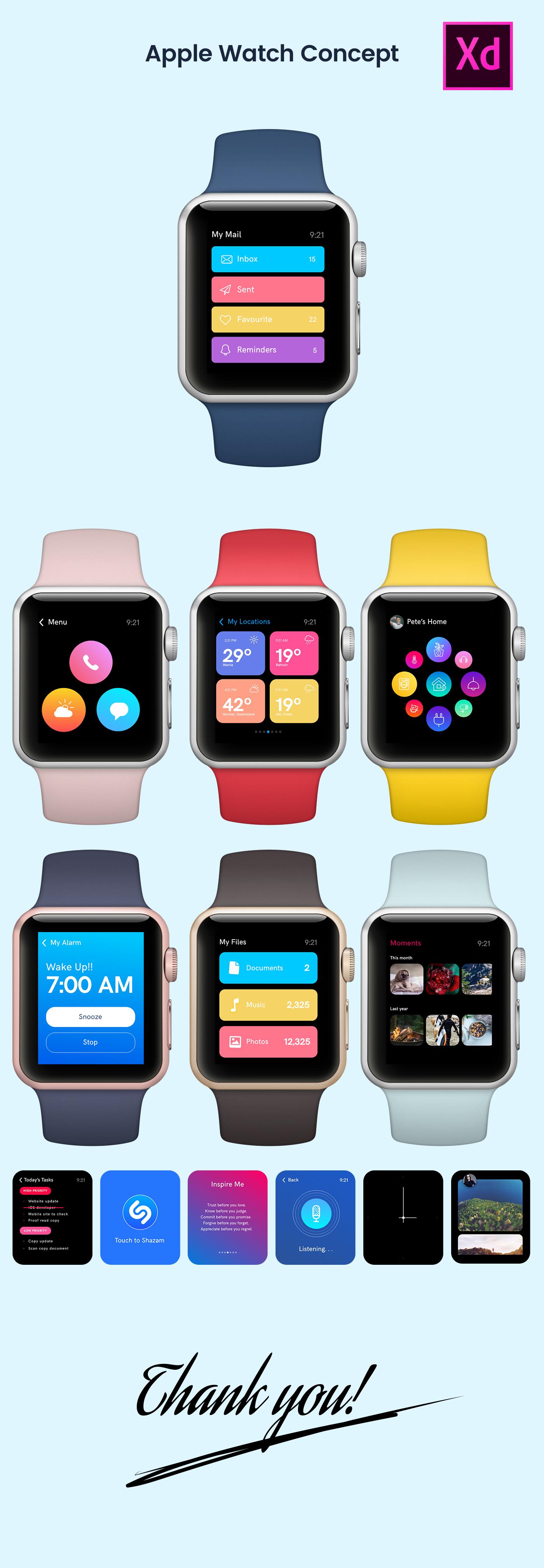 freebie adobexd apple watch Wearable UI ux design concepts MadeWithAdobeXd