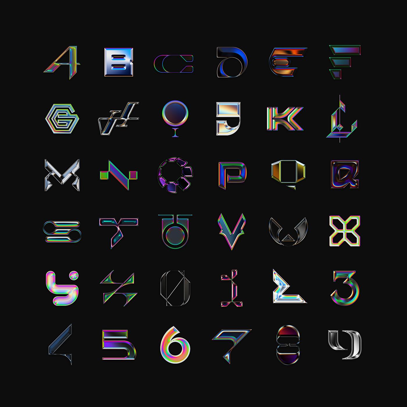 typography   36days 36daysoftype letter Alphabeth chrome iridescent 36 days