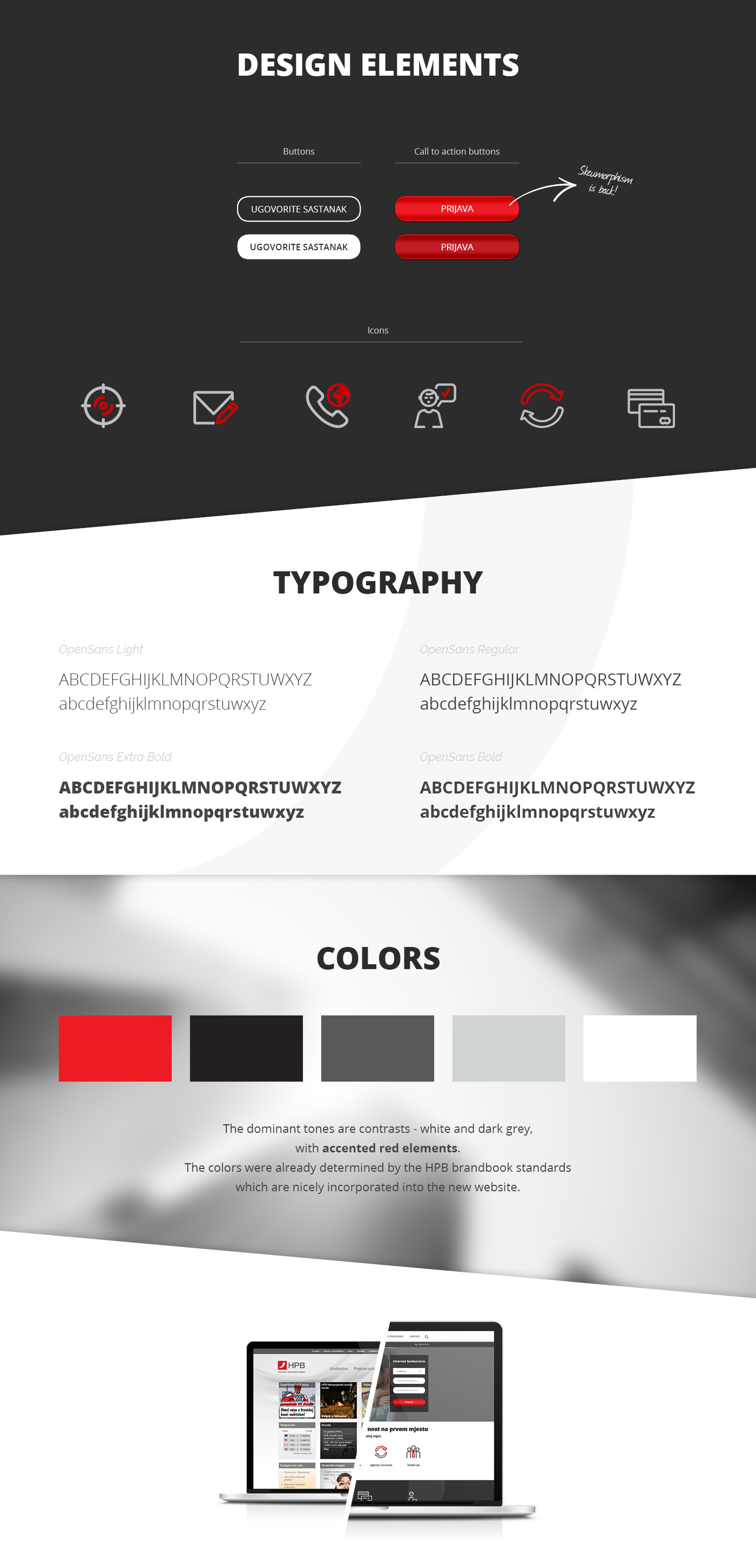 banking website Bank ux UI design user oriented banking site prototype for the Croatian skeumorphism one pager
