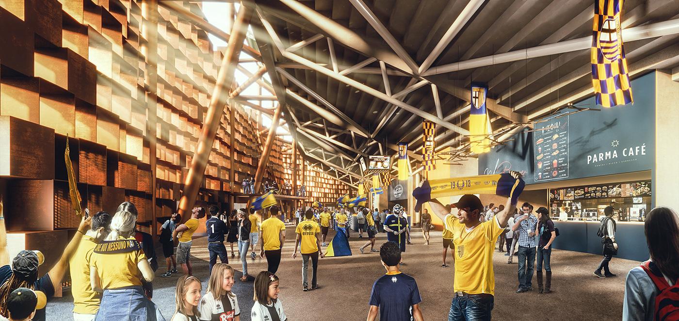 3D 3dsmax archviz nightview Render stadium vray