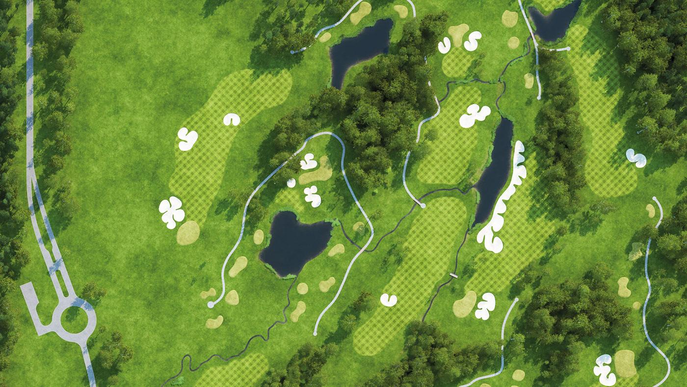 3D creek golf Golf Club granum modelling pine thegranum yardage book