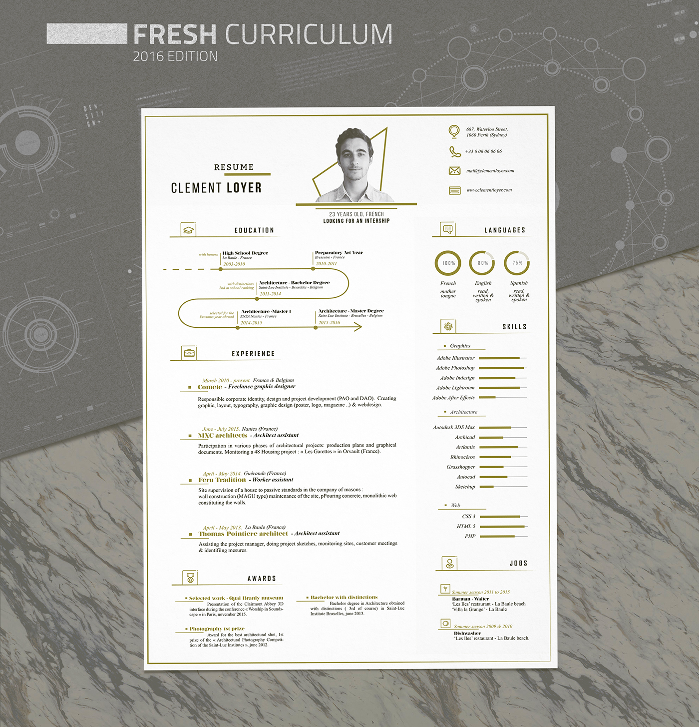 2016 personnal resume on behance