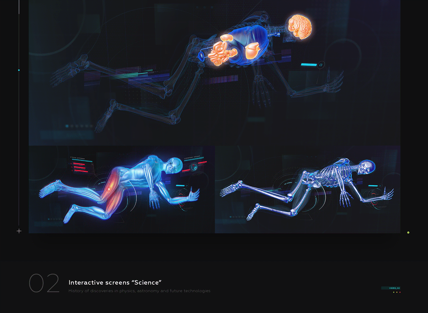 Interface UI Space  future museum hologram motion animated cosmos