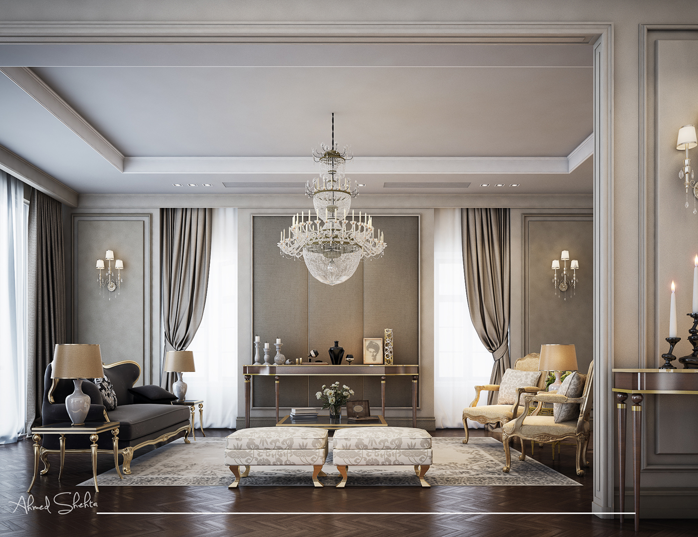 Neo Classic living room on Behance