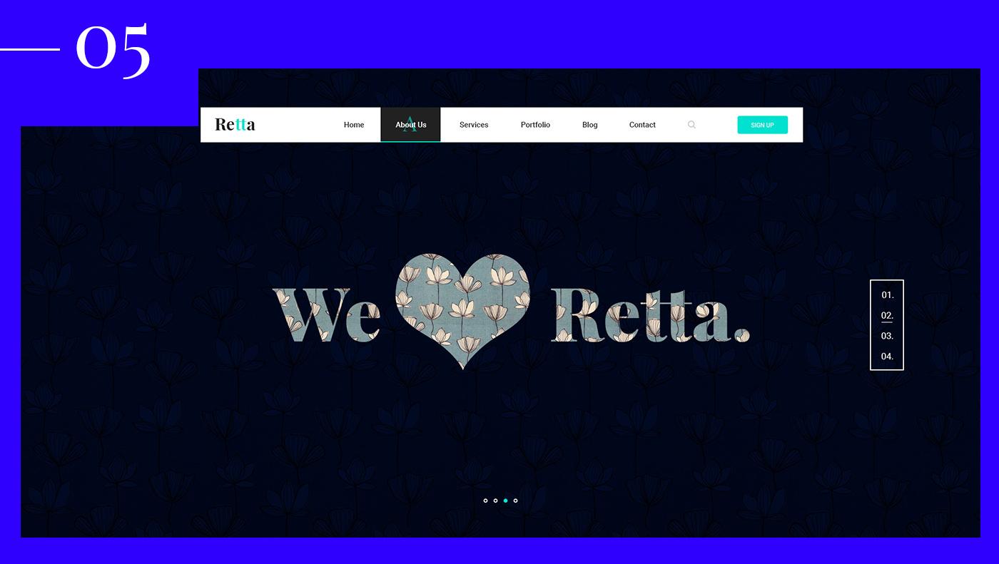 creative slider Website clean modern Retta themeforest psd html5 wordpress