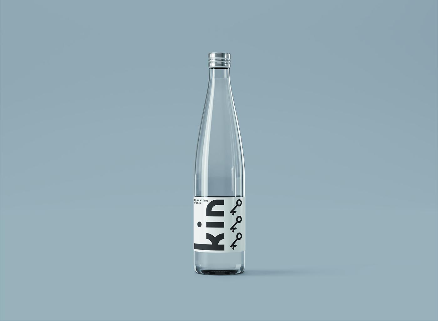 beverage bottle clean drink glass kin minimal Mockup modern water