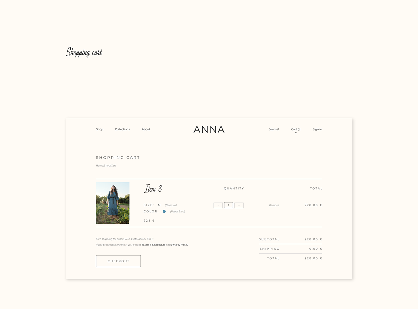 Shopping cart page of ANNA by Anna Graziani website