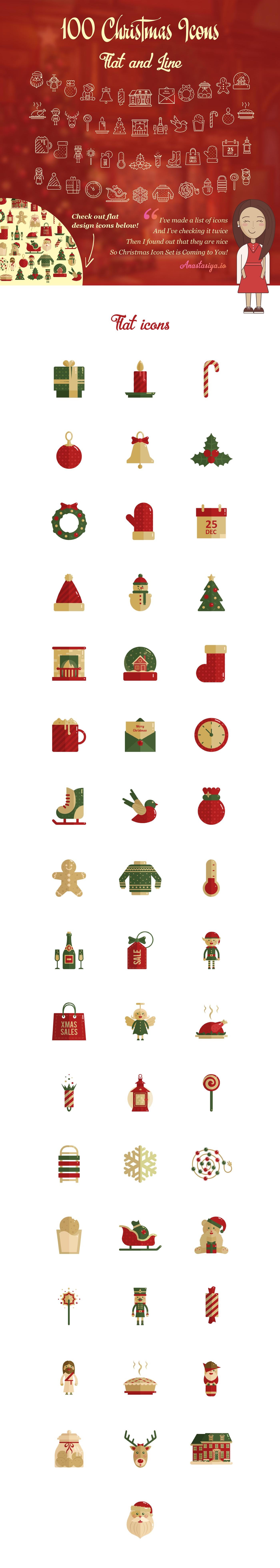 free freebie Christmas icons icon set flat line download free gift ai svg EPS psd