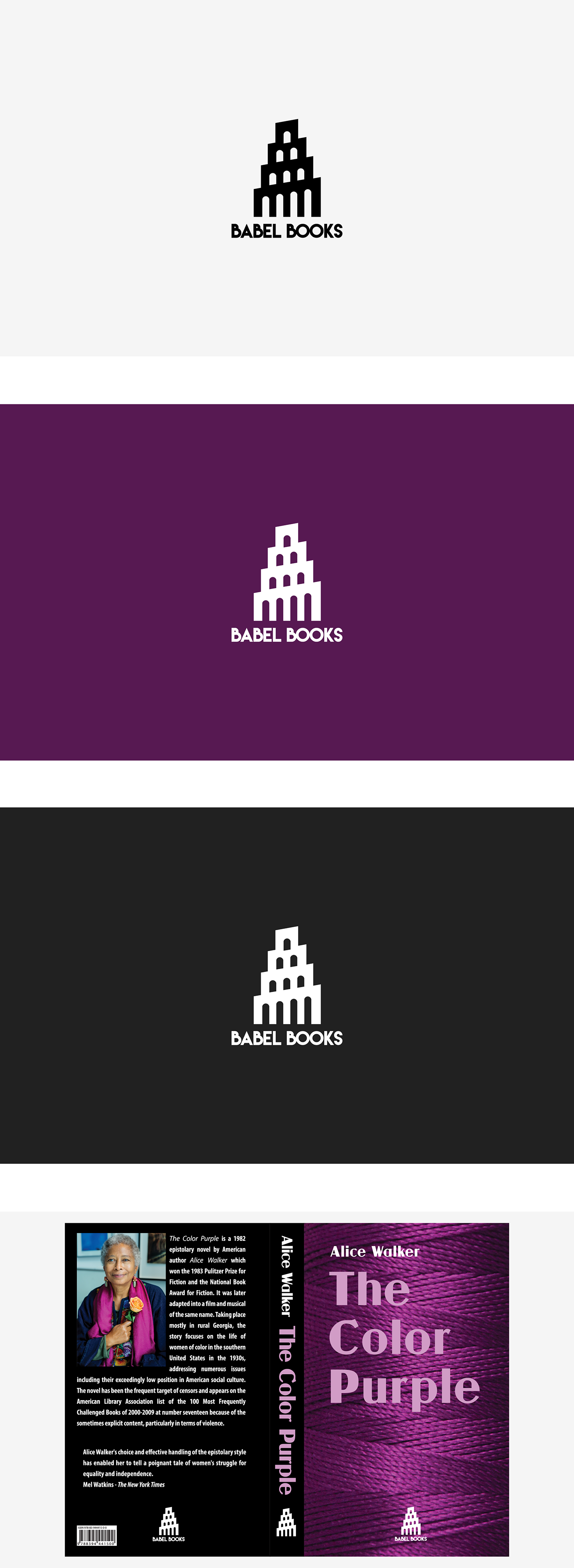 Babel Books Logo The Color Purple Book Cover on Behance