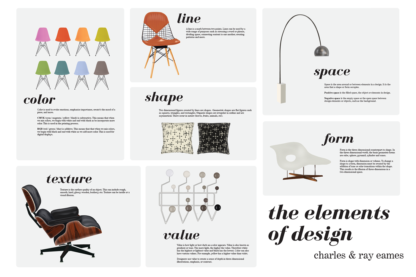 The elements of design ray charles eames on behance for Chair design elements