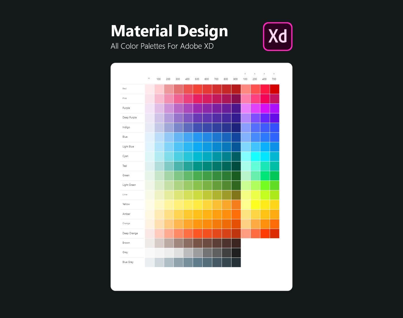 Material design color palettes for Adobe XD on Behance