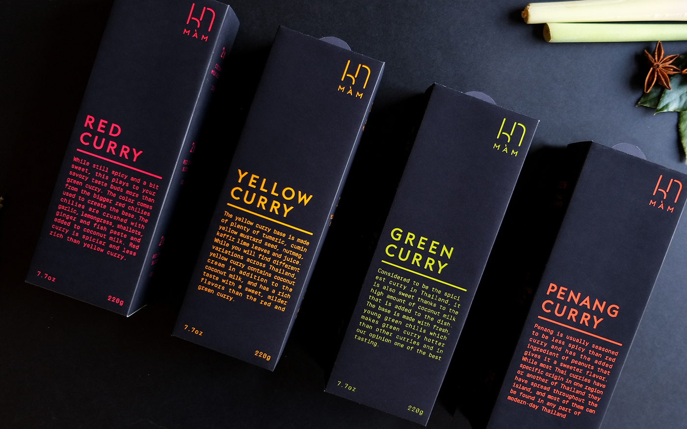 graphic design  packages packaging design branding  Food Packaging colors art direction  Food  editorial thai curry