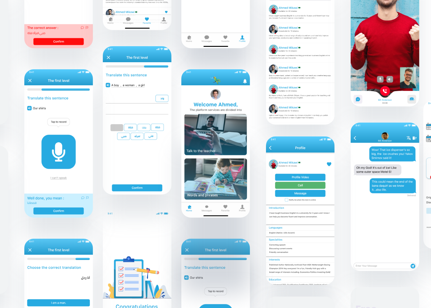 app application design english learn mobileapp uiux